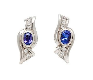 * A Pair of 18 Karat White Gold, Tanzanite and Diamond Earrings, Hauer, 10.40 dwts.