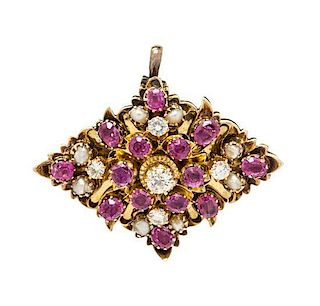 A Yellow Gold, Ruby, Diamond and Seed Pearl Pendant/Brooch, 7.80 dwts.