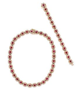 A Bicolor Gold, Ruby and Diamond Demi Parure, 65.10 dwts.
