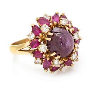 * An 18 Karat Yellow Gold, Star Ruby, Ruby and Diamond Ring, 6.30 dwts.