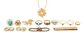 A Collection of Yellow Gold and Gold Filled Jewelry and Accessories, 32.40 dwts