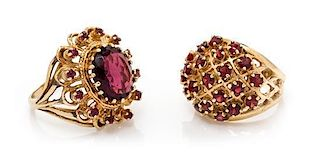 A Collection of Yellow Gold, Amethyst and Garnet Rings, 10.70 dwts.