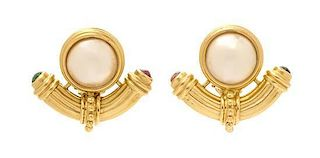 A Pair of 14 Karat Yellow Gold, Mabe Pearl, and Emerald and Ruby Earclips, 11.60 dwts.