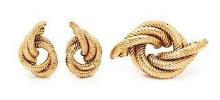 A 14 Karat Rose Gold Knot Motif Demi Parure, 17.50 dwts.