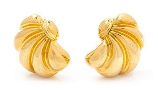 * A Pair of 18 Karat Yellow Gold Earclips, Italy, 13.40 dwts.