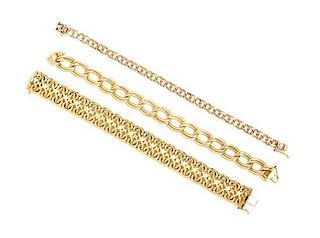 A Collection of 14 Karat Yellow Gold Bracelets, 28.70 dwts.