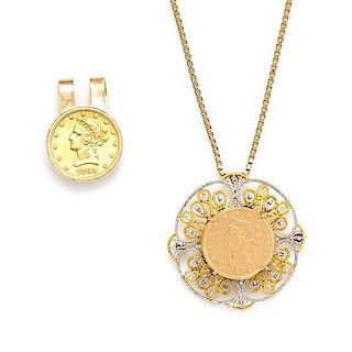 * A Collection of Gold and US $10 Liberty Coin Jewelry and Accessories, 43.50 dwts.