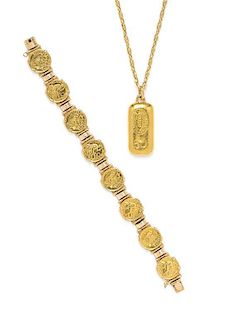 A Collection of 18 Karat Yellow Gold Jewelry, 72.90 dwts.