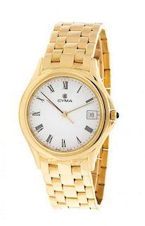 An 18 Karat Yellow Gold Wristwatch, CYMA, 67.60 dwts.