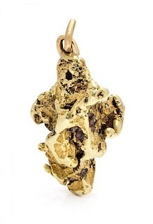 A Yellow Gold Nugget Pendant, 14.90 dwts.