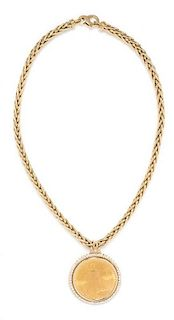 A 14 Karat Yellow Gold, US $20 1927 Liberty Head Coin and Diamond Necklace, 47.50 dwts.