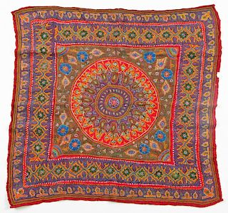 """Antique Persian Kerman Embroidery: 33'' x 33"""""""