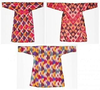 3 Old Central Asian Ikat Robes