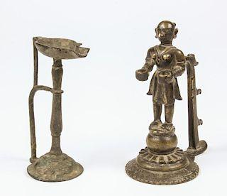 2 Bronze Lamps, Ca. 1750