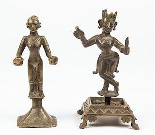 Rare Bronze Radha Statue and Laxmi Lamp