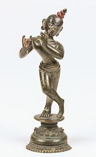 Rare Bronze Krishna Statue, Ca. 1750