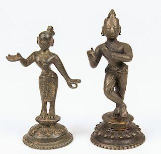 Bronze Krishna and Radha Statues, Ca. 1750-1800