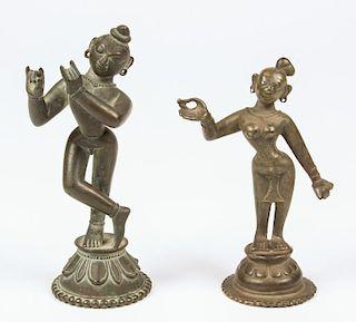 Fine Krishna and Radha Statues, Ca. 1800