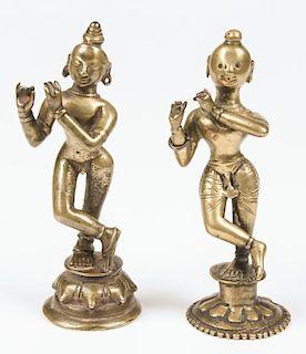 2 Bronze Krishna Statues, Ca 1800