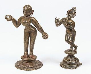 Bronze Krishna/Radha Statues, Ca. 1750-1800