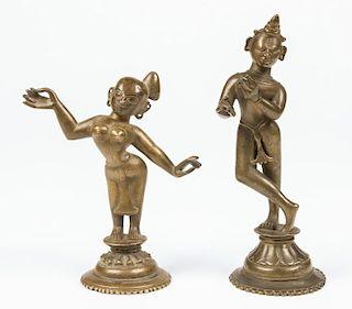 Bronze Radha and Krishna Statues, Ca. 1800-1850