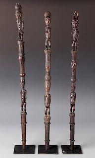 3 African Baule Scepters