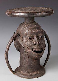 African Bronze Kom Stool