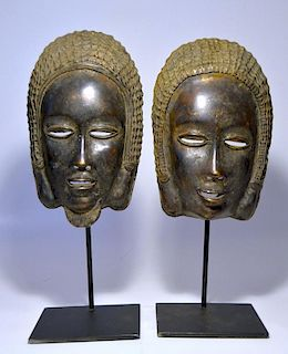 Pair of Rare Bronze Face Masks, Baule Tribe