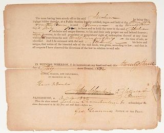 Ephemera Related to Brewer, ME, 1800 - 1855, Including Documents Signed by Joshua Chamberlain's Father