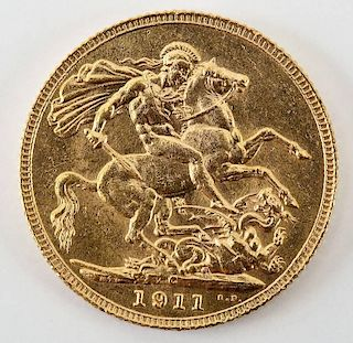 1911 English George V Gold Sovereign
