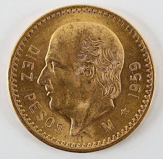 1959 Mexican 10 Peso Gold Piece