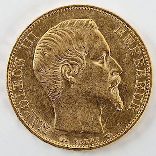 1854A French Gold 20 Franc