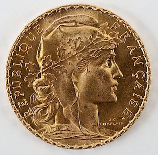 1909 French Gold 20 Franc
