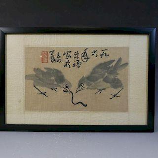 LI KUCHAN (1899 - 1983), TWO BIRDS.  SIGNED AND SEALED 1978