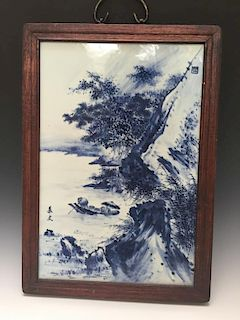 CHINESE ANTIQUE BLUE AND WHITE PAINTING PLAQUE