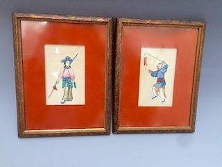 A PAIR OF CHINESE ANTIQUE PAINTINGS ON RICE PAPER