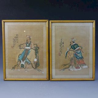 PAIR OF CHINESE ANTIQUE PAINTING OF FAMOUS EMPERORS - 19TH CENTURY