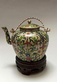 CHINESE ANTIQUE CLOISONNE ENAMEL TEA POT 19TH CENTURY
