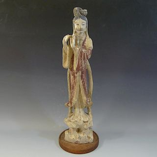ANTIQUE CHINESE PAINTED CARVED WOOD MEIREN - QING DYNASTY