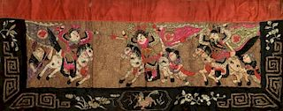 CHINESE  OLD SILK EMBROIDERY PANEL
