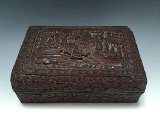 CHINESE ANTIQUE LACQUER BOX, QIANLONG PERIOD