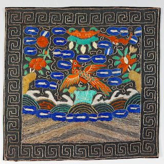 ANTIQUE CHINESE SILK RANK BADGE - QING DYNASTY