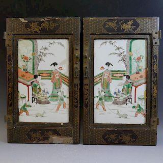 PAIR ANTIQUE CHINESE FAMILLE VERTE PORCELAIN PLAQUE - 18TH CENTURY