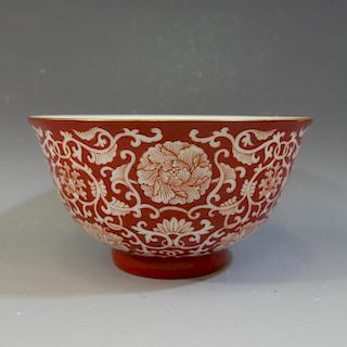 ANTIQUE IMPERIAL CHINESE CORAL RED PORCELIAN BOWL - GUANGXU MARK AND PERIOD