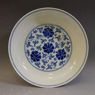IMPERIAL CHINESE BLUE WHITE PORCELAIN DISH - QIANLONG MARK AND PERIOD