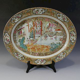 RARE LARGE ANTIQUE CHINESE ROSE MEDALLION FISH PLATE - CIRCA 1840S