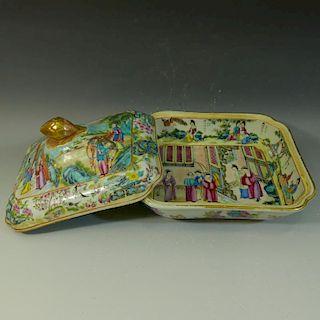 RARE ANTIQUE CHINESE ROSE MANDARIN BOX - EARLY 19TH CENTURY