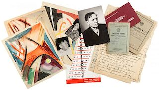 AN IMPORTANT GROUPING OF EIGHT ARTWORKS BY IVAN KUDRYASHOV (RUSSIAN 1896-1972), ALONG WITH LETTERS AND PERSONAL EFFECTS