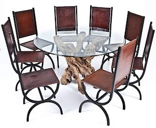 Modern Root Dining Table with 8 Leather Chairs