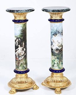 Pair of Italian Hand Painted Marble Top Pedestals